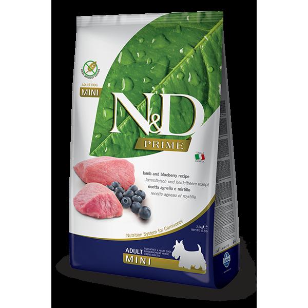 Храна за кучета N&D PRIME Grain-Free Adult Mini Lamb & Blueberry – пълноценна храна за кучета в зряла възраст от дребни породи